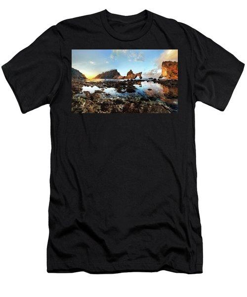 Men's T-Shirt (Athletic Fit) featuring the photograph Rocky Beach Sunrise, Bali by Pradeep Raja Prints