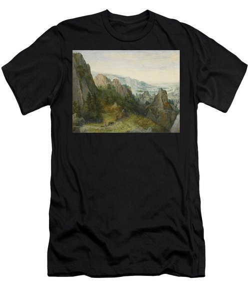 Rocky Landscape With Travellers Men's T-Shirt (Athletic Fit)