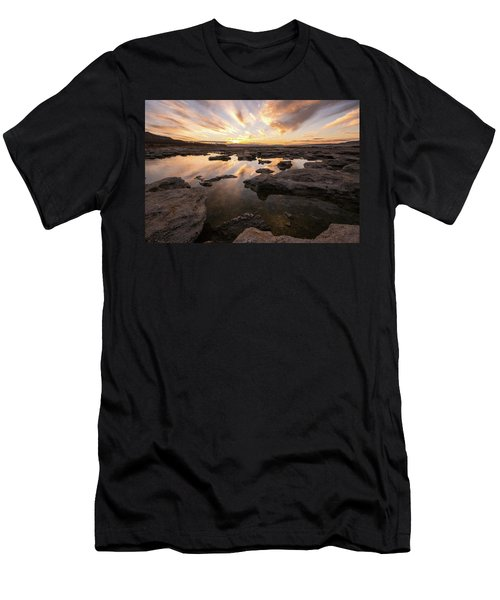 Men's T-Shirt (Athletic Fit) featuring the photograph Rocky Shores Of Utah Lake by Wesley Aston
