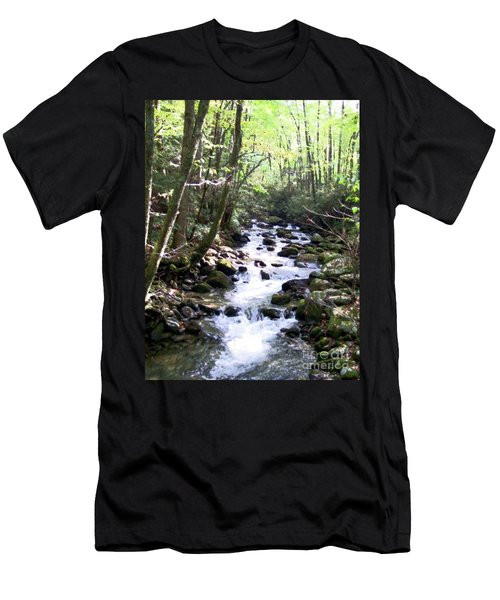Men's T-Shirt (Slim Fit) featuring the mixed media Rocky Stream 6 by Desiree Paquette