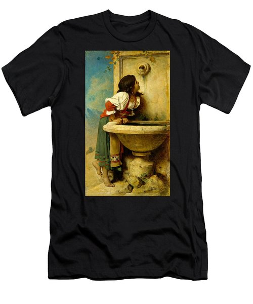 Roman Girl At A Fountain Men's T-Shirt (Athletic Fit)