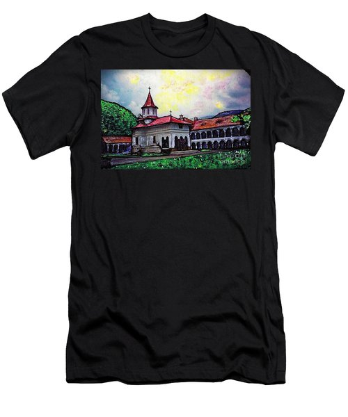 Romanian Monastery Men's T-Shirt (Slim Fit) by Sarah Loft