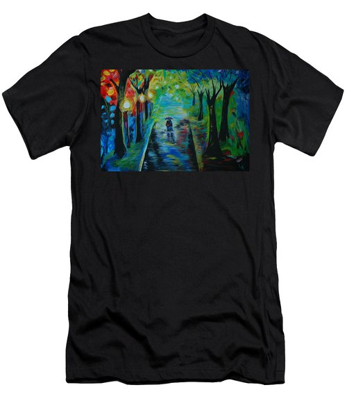 Men's T-Shirt (Slim Fit) featuring the painting Romantic Stroll by Leslie Allen