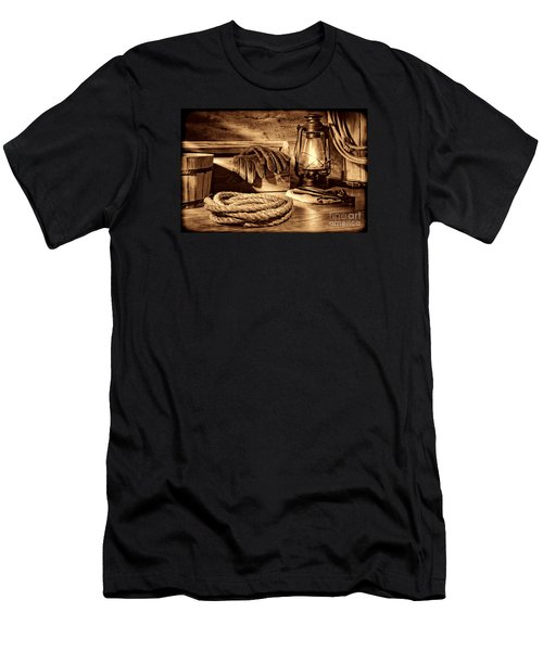 Rope And Tools In A Barn Men's T-Shirt (Slim Fit) by American West Legend By Olivier Le Queinec