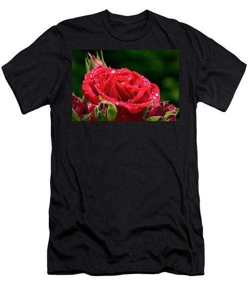 Men's T-Shirt (Slim Fit) featuring the photograph Rose After Rain by Leif Sohlman