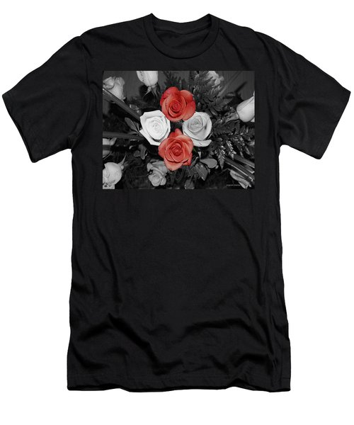 Rose Bouquet Men's T-Shirt (Slim Fit) by DigiArt Diaries by Vicky B Fuller