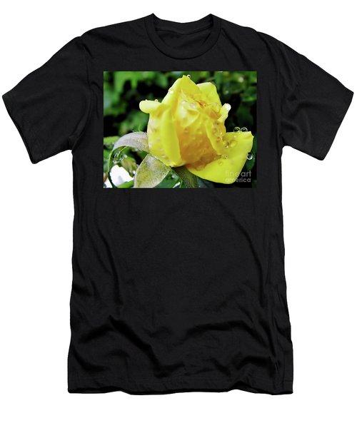 Rose Bud Dew Drops Men's T-Shirt (Athletic Fit)