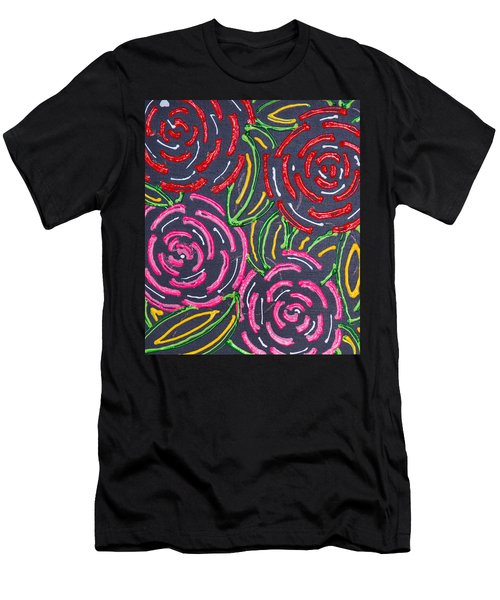 Men's T-Shirt (Athletic Fit) featuring the painting Roses And Poses by Aliya Michelle