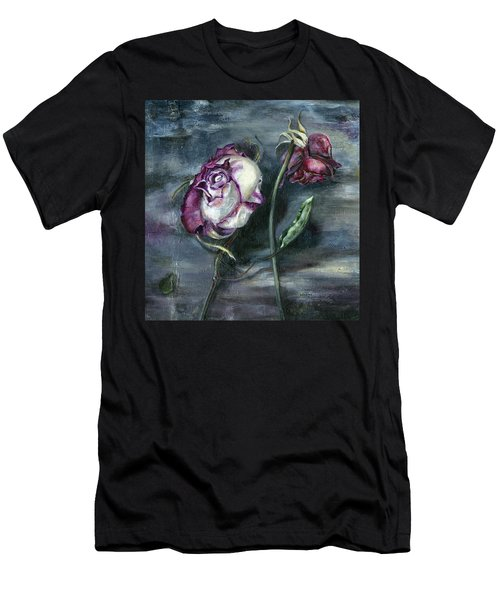 Men's T-Shirt (Slim Fit) featuring the painting Roses Never Die by Nadine Dennis