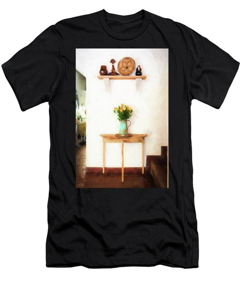 Men's T-Shirt (Athletic Fit) featuring the digital art Rose's On Table by Lou Novick