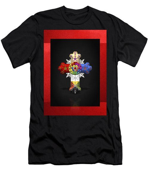 Rosy Cross - Rose Croix  Men's T-Shirt (Slim Fit)