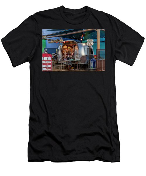 Route 66 And Airstream On Tha Pier Men's T-Shirt (Athletic Fit)