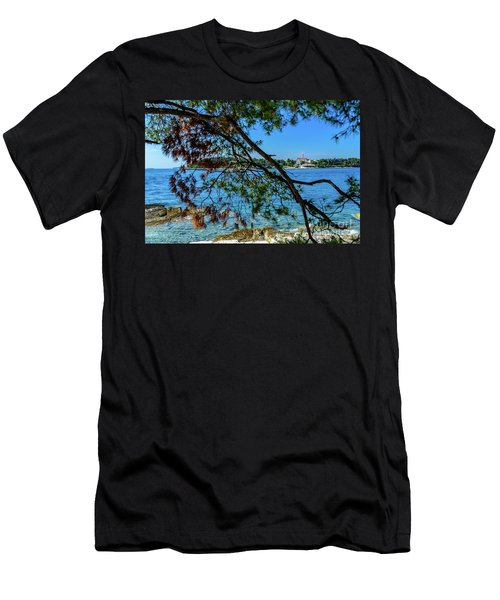 Rovinj Old Town Accross The Adriatic Through The Trees Men's T-Shirt (Athletic Fit)