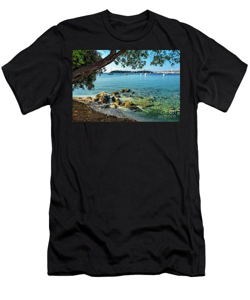 Rovinj Old Town, Harbor And Sailboats Accross The Adriatic Through The Trees Men's T-Shirt (Athletic Fit)