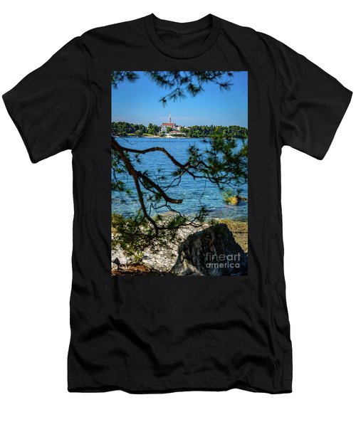 Rovinj Seaside Through The Adriatic Trees, Istria, Croatia Men's T-Shirt (Athletic Fit)