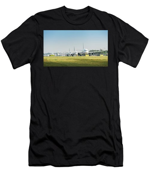 Row Of Airplanes Ready To Take-off Men's T-Shirt (Athletic Fit)