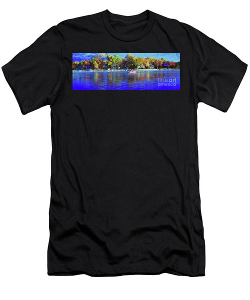 Men's T-Shirt (Athletic Fit) featuring the photograph Roy And Boat Fall Fishing by Tom Jelen