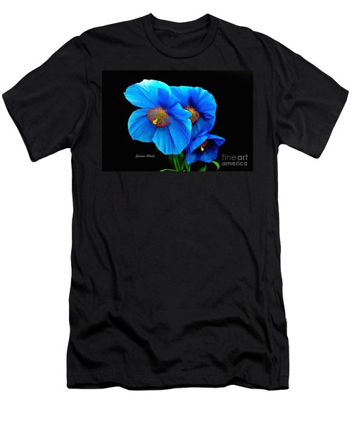 Royal Blue Poppies Men's T-Shirt (Slim Fit) by Jeannie Rhode