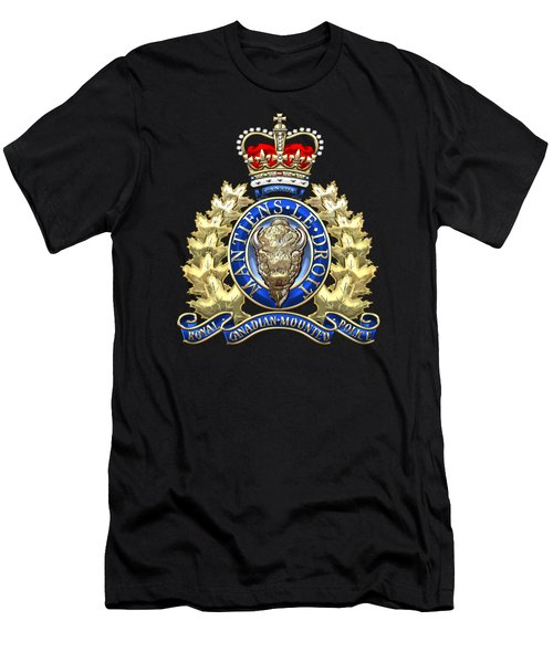 Royal Canadian Mounted Police - Rcmp Badge On Black Leather Men's T-Shirt (Slim Fit) by Serge Averbukh