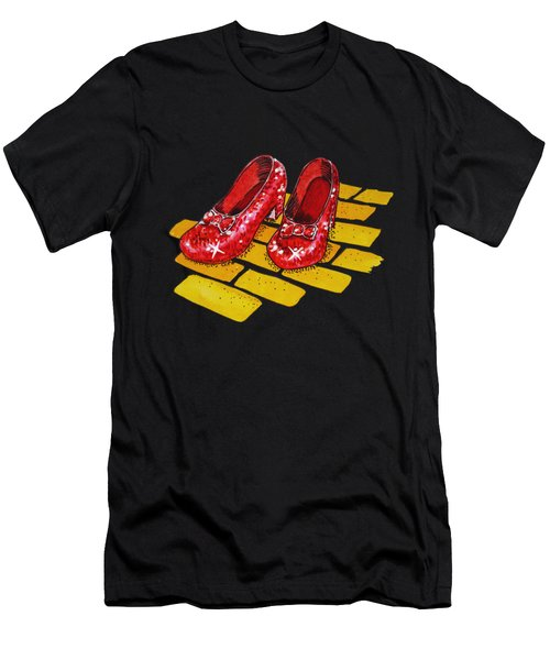 Ruby Slippers The Wonderful Wizard Of Oz Men's T-Shirt (Slim Fit) by Irina Sztukowski