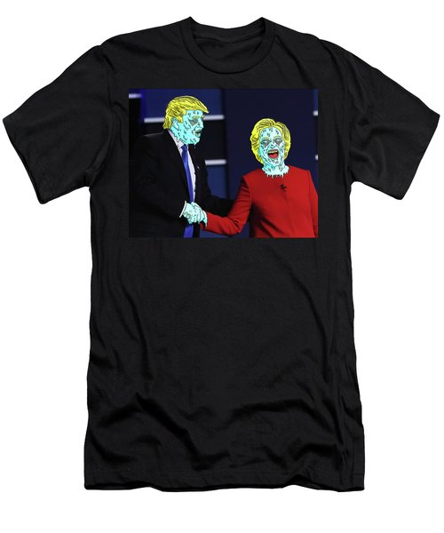 Men's T-Shirt (Slim Fit) featuring the painting Running Down The Same Cloth. by Chief Hachibi