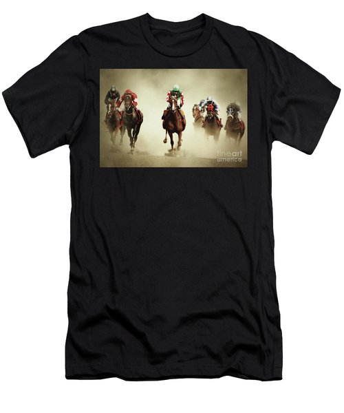 Running Horses In Dust Men's T-Shirt (Athletic Fit)