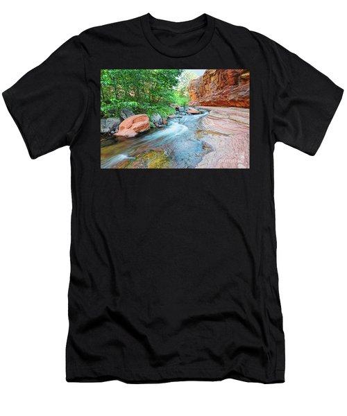 Rushing Waters At Slide Rock State Park Oak Creek State Park - Sedona Northern Arizona Men's T-Shirt (Athletic Fit)