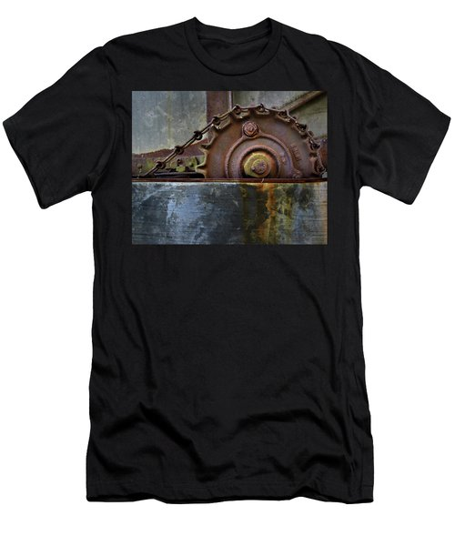 Men's T-Shirt (Slim Fit) featuring the photograph Rustic Gear And Chain by David and Carol Kelly