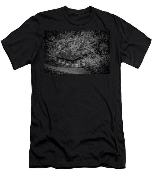 Men's T-Shirt (Slim Fit) featuring the photograph Rustic Log Cabin In Black And White by Kelly Hazel