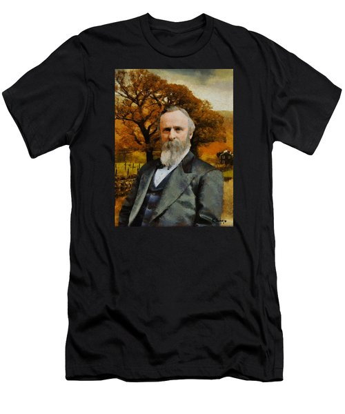 Men's T-Shirt (Slim Fit) featuring the painting Rutherford B. Hayes by Kai Saarto