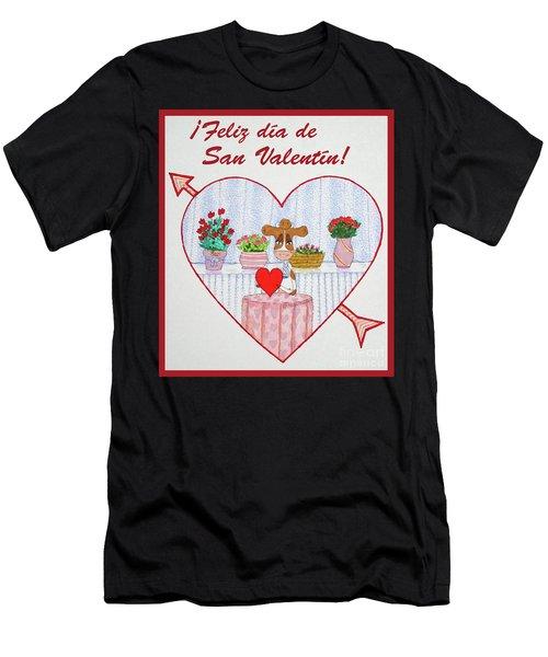 Ruthiemoo Heart Flores Feliz Dia De San Valentin Men's T-Shirt (Athletic Fit)