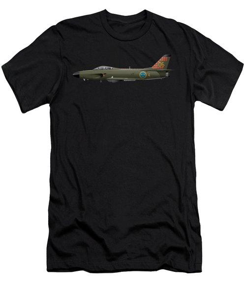 Saab J32d Lansen - 32606 - Side Profile View Men's T-Shirt (Athletic Fit)