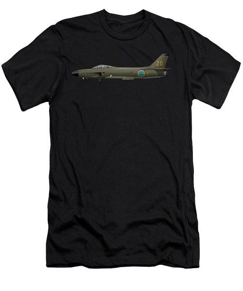 Saab J32e Lansen - 32620 - Side Profile View Men's T-Shirt (Athletic Fit)