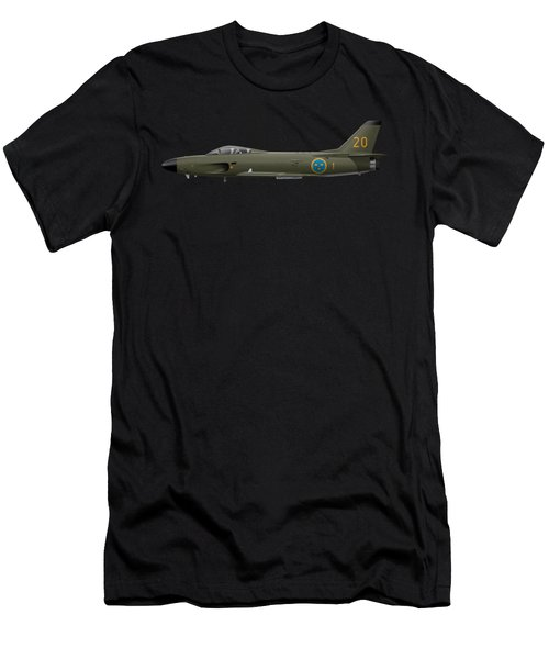 Saab J32e Lansen - 32620 - Side Profile View Men's T-Shirt (Athletic Fit)