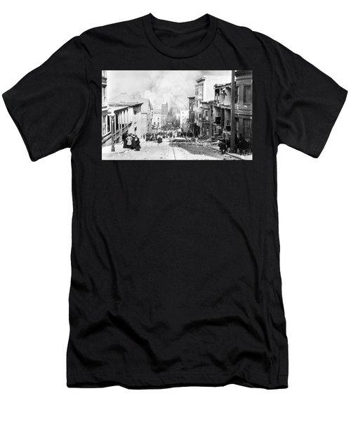 Sacramento Street Burning - San Francisco Earthquake - 1906 Men's T-Shirt (Athletic Fit)
