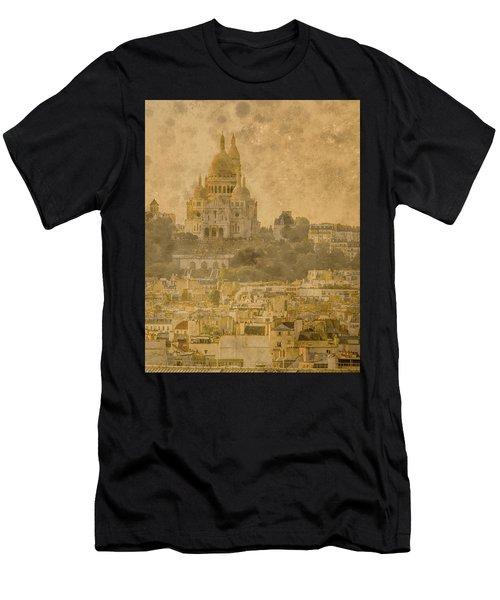 Paris, France - Sacre-coeur Oldplate Men's T-Shirt (Athletic Fit)