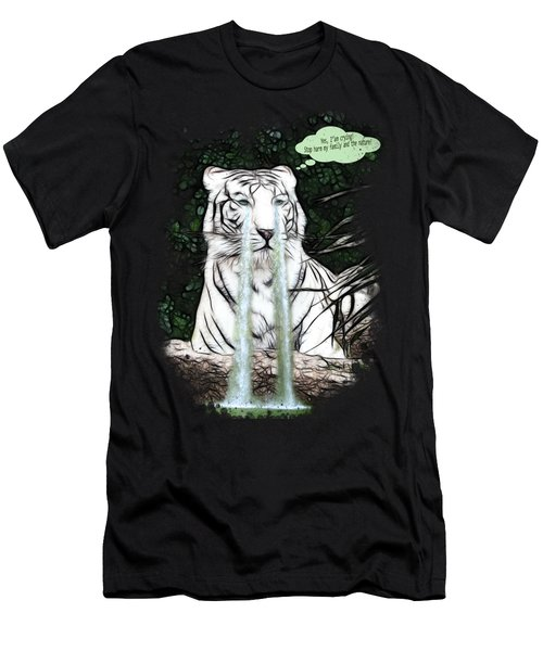 Sad White Tiger Typography Men's T-Shirt (Athletic Fit)