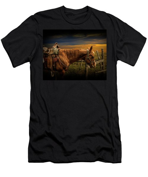 Saddle Horse On The Prairie Men's T-Shirt (Athletic Fit)