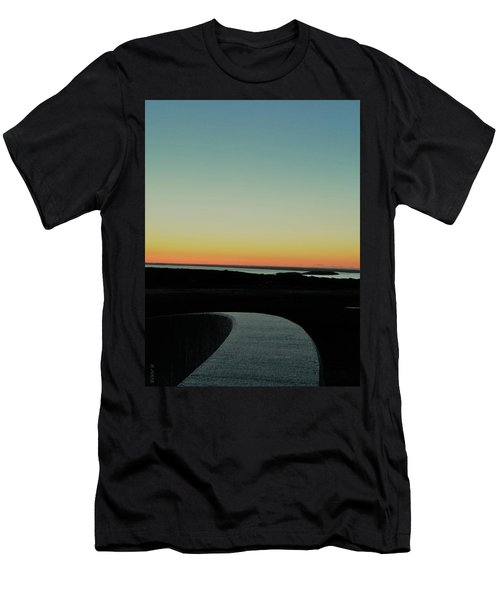 Men's T-Shirt (Athletic Fit) featuring the photograph Sag Harbor Sunset 3 In Black And White by Rob Hans