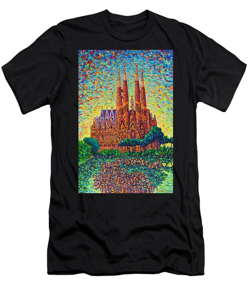 Sagrada Familia Barcelona Modern Impressionist Palette Knife Oil Painting By Ana Maria Edulescu Men's T-Shirt (Athletic Fit)