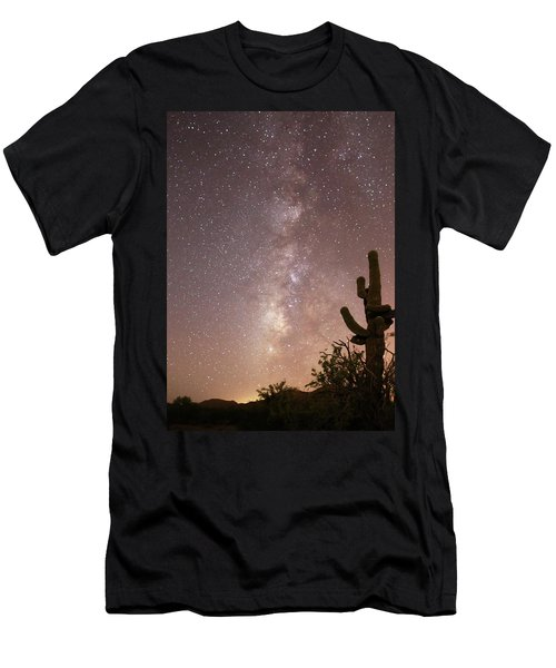 Saguaro Cactus And Milky Way Men's T-Shirt (Athletic Fit)