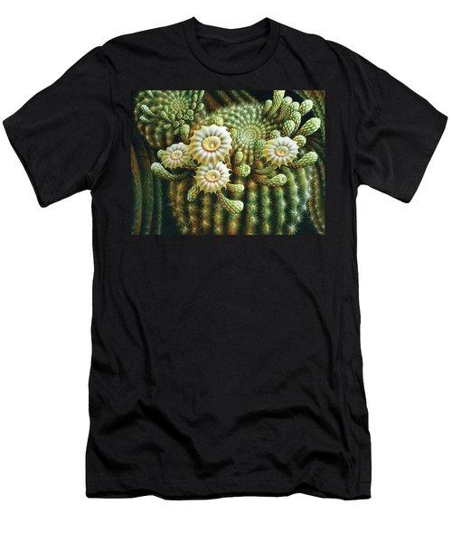 Saguaro Cactus Blossoms Men's T-Shirt (Slim Fit) by James Larkin