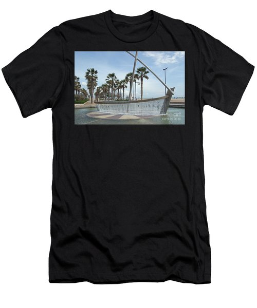 Sail Boat Fountain In Valencia Men's T-Shirt (Athletic Fit)