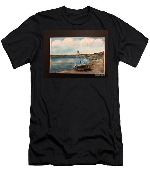 Men's T-Shirt (Athletic Fit) featuring the painting Sail Boat On Shore by Donald Paczynski