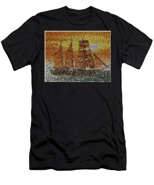 Men's T-Shirt (Slim Fit) featuring the mixed media Sail Ship Coins Mosaic by Paul Van Scott