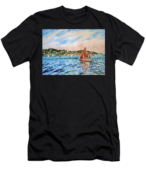 Sailboat On The Bay Men's T-Shirt (Athletic Fit)