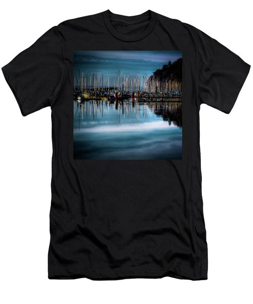 Sailboats At Sunset Men's T-Shirt (Slim Fit) by David Patterson