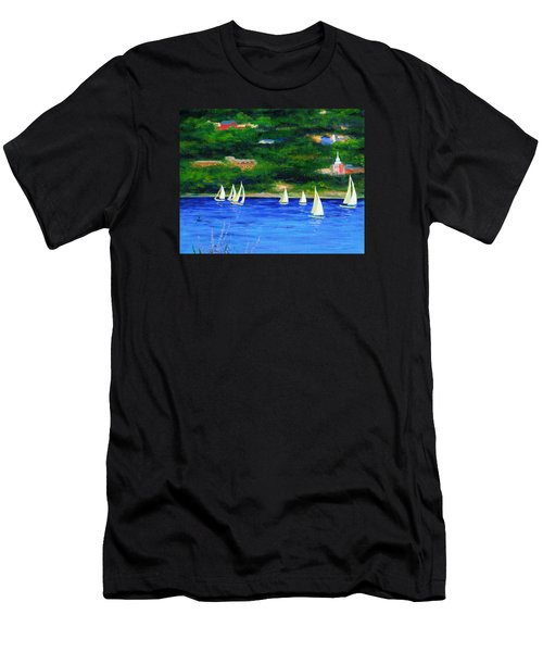 Sailboats On Hudson Men's T-Shirt (Athletic Fit)
