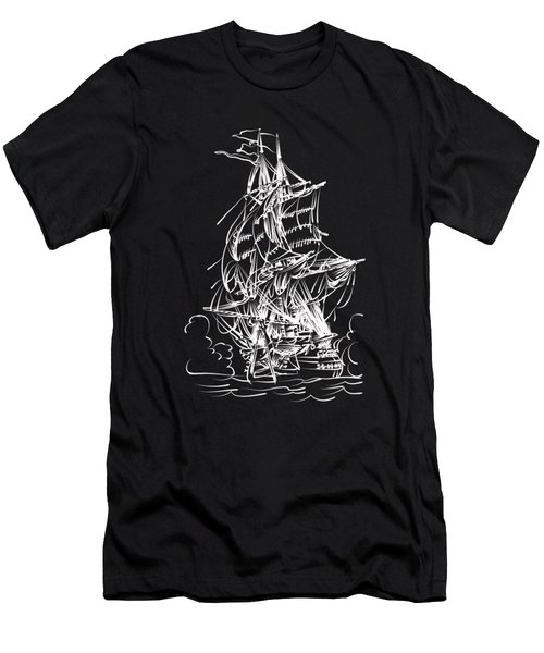 Men's T-Shirt (Slim Fit) featuring the painting Sailing 2  by Andrzej Szczerski