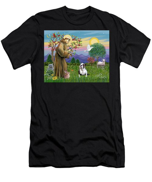 Saint Francis Blesses A Brown And White English Bulldog Men's T-Shirt (Athletic Fit)